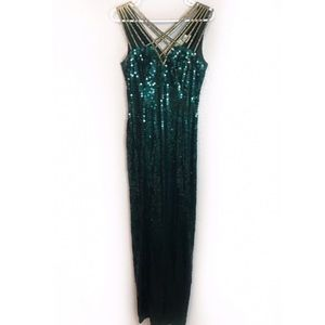 Vintage Green Sequined Prom Dress